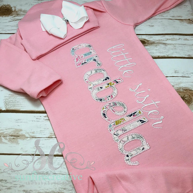 Girls Coming Home Outfit - Newborn Baby Gown - Sunfire Creative Baby Boutique