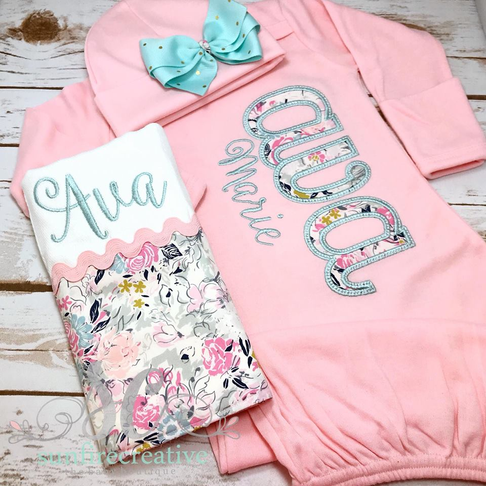 c2d4d99b5b74 Baby Girl Name Gown - Baby Girl Coming Home Outfit - Sunfire Creative Baby  Boutique