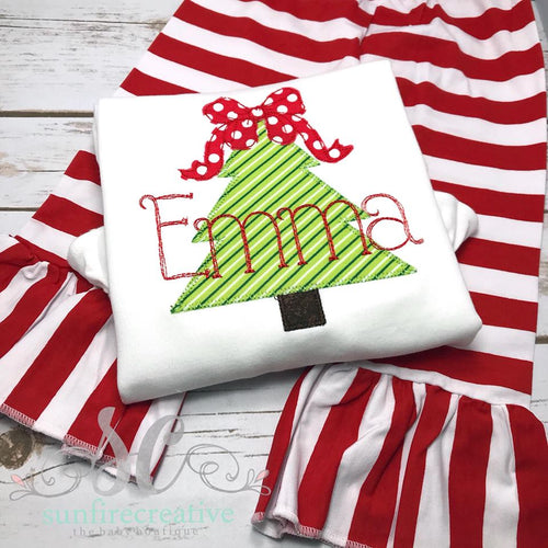 Girls Christmas Tree Shirt with Bow topper