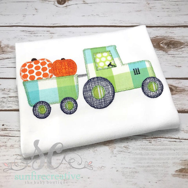 Thanksgiving Tractor with trailer and pumpkins - Sunfire Creative Baby Boutique