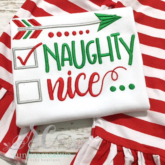 Girls Christmas Outfit - Santa's Chirstmas List Shirt - Naughty or Nice