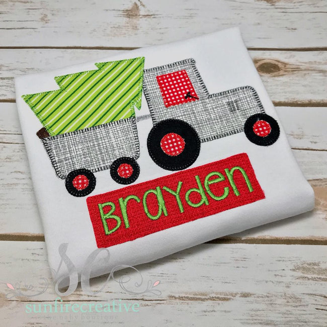 Christmas Tree shirt with Tractor