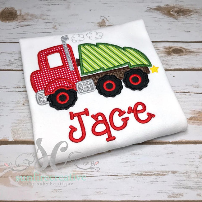 Boys Christmas Shirt - Big Truck hauling Christmas Tree Shirt - Sunfire Creative Baby Boutique