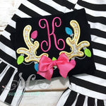 Girls Christmas Shirt - Initial Shirt - Antler Shirt