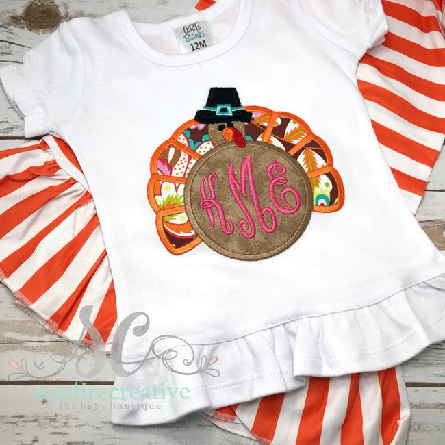 Girls Thanksgiving Outfit - Personalized Turkey Shirt