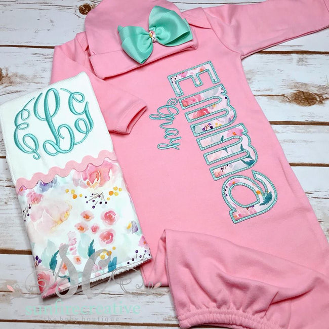 Personalized Baby Gown - Girls Going Home outfit - Sunfire Creative Baby Boutique
