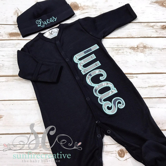 Newborn Baby Outfit - Newborn Boy Clothes - Personalized Baby Footy - Sunfire Creative Baby Boutique