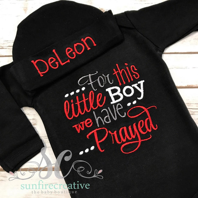 For this little Boy we have Prayed Baby Gown - Baby Shower Gift