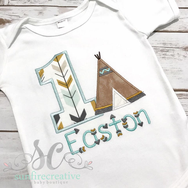 Boys Birthday Shirt - Boys Teepee Birthday Shirt - Camping Birthday Shirt - Sunfire Creative Baby Boutique