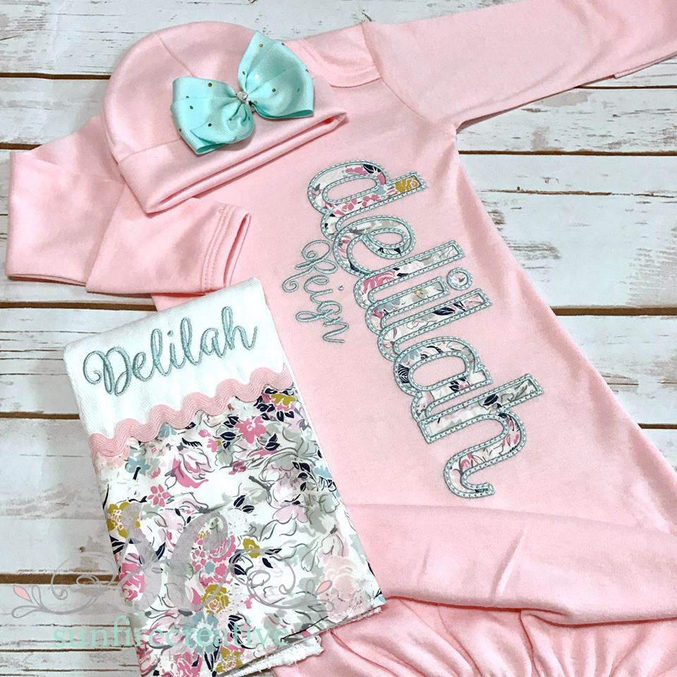 24474fc737f8 Girls Coming Home Outfit - Girls Baby Gown - Personalized Baby Gown ...