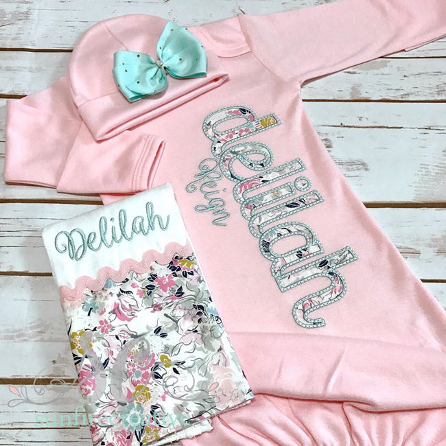 Girls Coming Home Outfit - Girls Baby Gown - Personalized Baby Gown - Sunfire Creative Baby Boutique