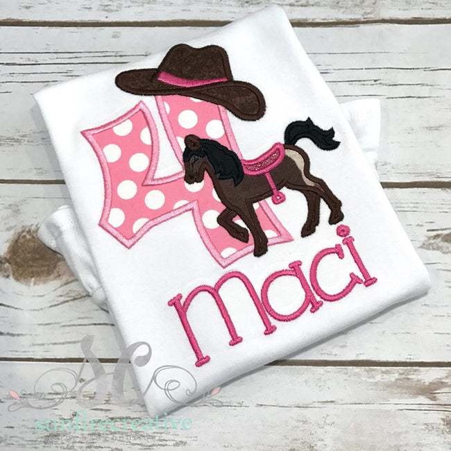 Girls Birthday Shirt - Horse Birthday Shirt - Cowgirl Birthday Shirt - Sunfire Creative Baby Boutique