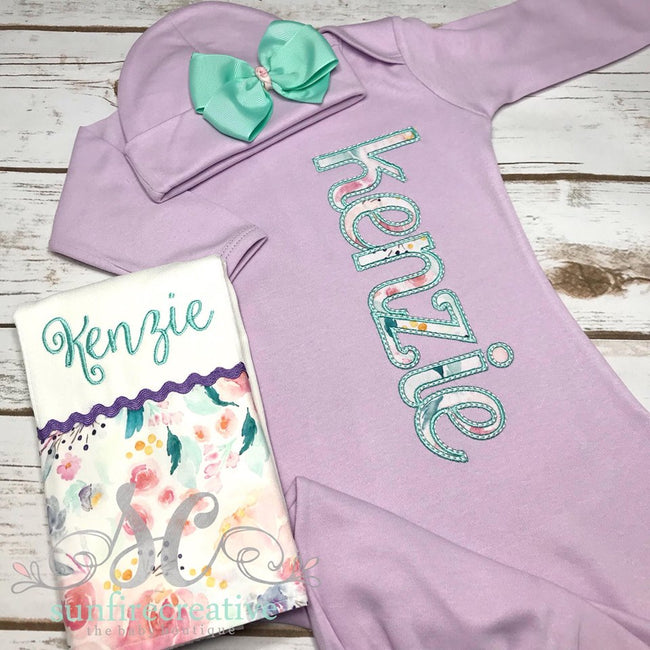 Baby Girl Coming Home Outfit - Girls Gown -  Baby Shower Gift - Sunfire Creative Baby Boutique
