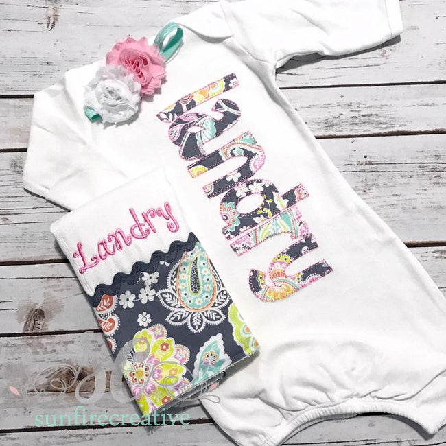 Girls Coming Home Outfit - Personalized Baby Gown - Baby Shower Gift - Sunfire Creative Baby Boutique