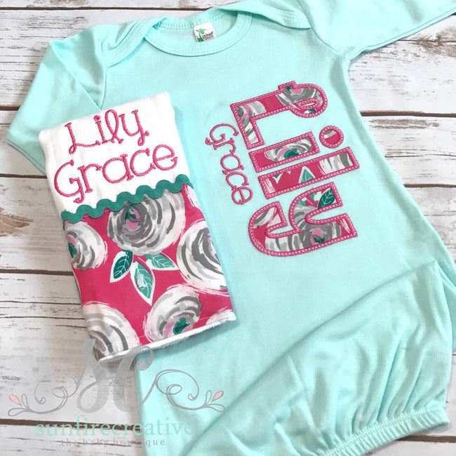 Girls Coming Home Outfit - Personalized Baby Gown - Sunfire Creative Baby Boutique