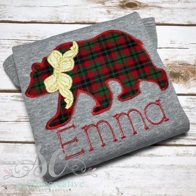 Girls Christmas Shsirt - Christmas Bear Shirt