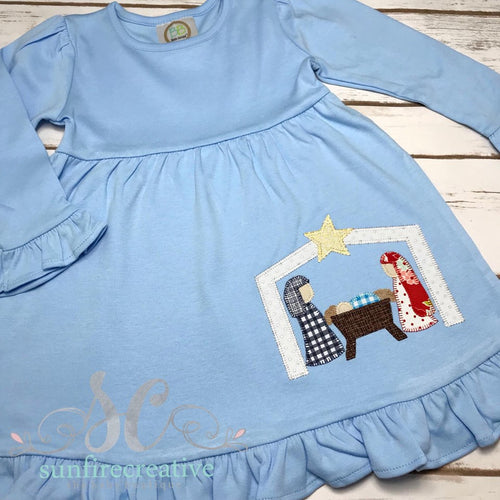 Girls Christmas Dress - Christmas Manger Dress