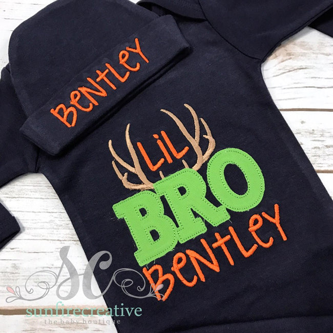 Personalize Little Brother Outfit - Deer Lil Bro Outfit