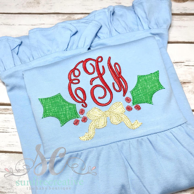 Christmas Dress for Girls - Holly Christmas Dress - Girls Holiday Dress - Sunfire Creative Baby Boutique