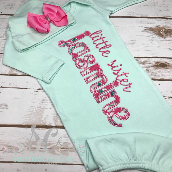 Girl Coming Home Outfit - Personalized Baby Gown - Little Sister Gown - Sunfire Creative Baby Boutique
