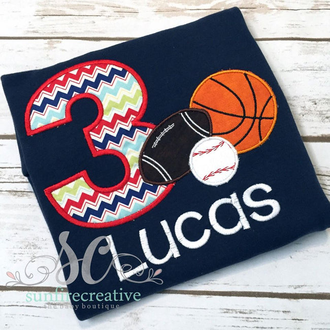 Boy's Birthday Shirt - Sports Birthday Shirt - Sunfire Creative Baby Boutique