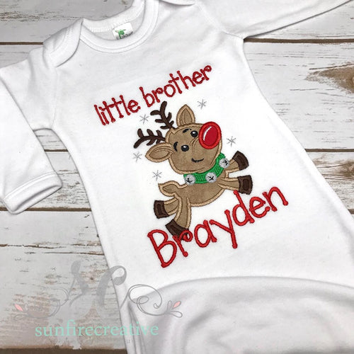 Reindeer Sibling Outfit - Little Brother Baby Gown