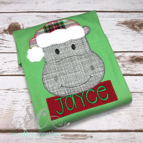 Boy's Christmas Shirt - Hippo Christmas Shirt