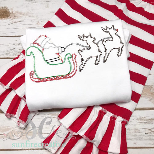 Christmas Outfit - Girls Christmas Outfit - Santa and Reindeer Shirt