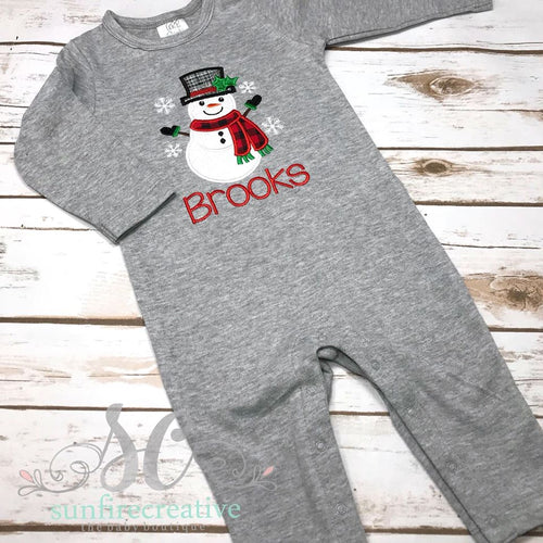 Christmas Romper - Snowman Romper - Winter Outfit