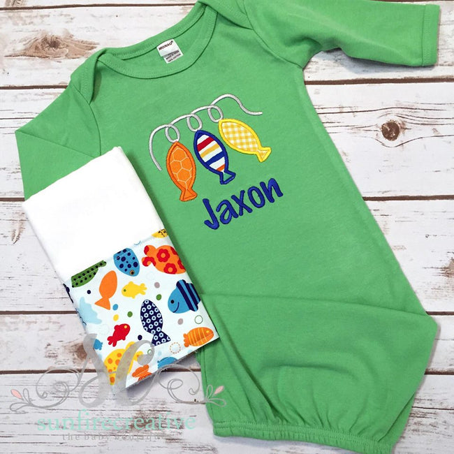Fishing Baby Gown - Boy Baby Gown - Sunfire Creative Baby Boutique