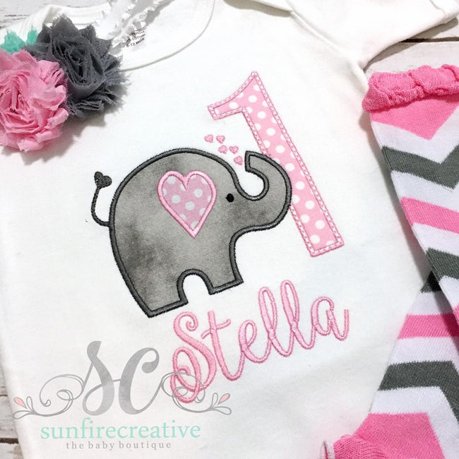 Elephant Birthday Outfit- Girls First Birthday Outfit