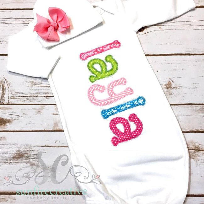 Baby Girl Coming Home Outfit - Personalized Baby Gown - Sunfire Creative Baby Boutique