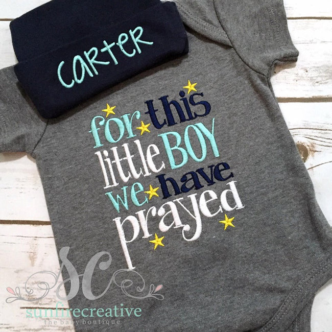 For this little boy we have Prayed Onesie - Little Boy Comin Home Outfit - Sunfire Creative Baby Boutique