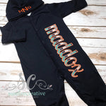 Baby Boy Personalized Navy Romper - Baby Shower Gift - Sunfire Creative Baby Boutique