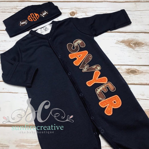Navy Football Footed Sleeper - Baby Boy Coming Home Outfit