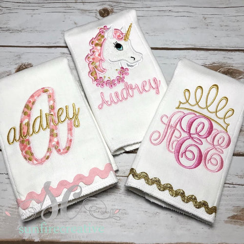 Unicorn Burp Cloth Set - Girl Burp Cloth Set