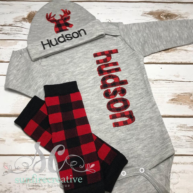Buffalo Plaid Outfit - Coming Home Outfit - Sunfire Creative Baby Boutique