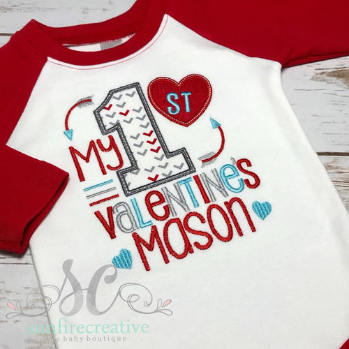 Boys First Valentine Outfit - My First Valentines Day Shirt