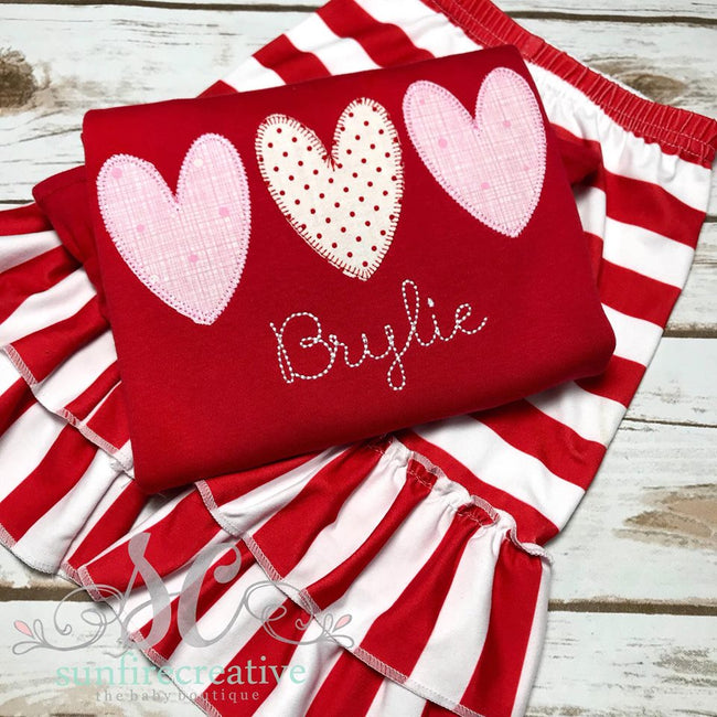 Girl Valentine Outfit - Valentine Heart Shirt - Sunfire Creative Baby Boutique