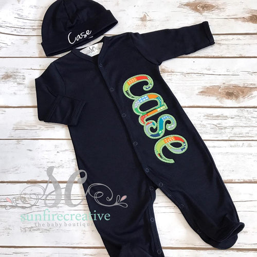 Boy Footed Sleeper - Baby Boy Coming Home Outfit