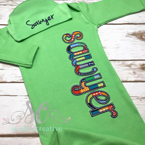 Boy Gown - Baby Boy Coming Home Outfit - Personalized Baby Gown