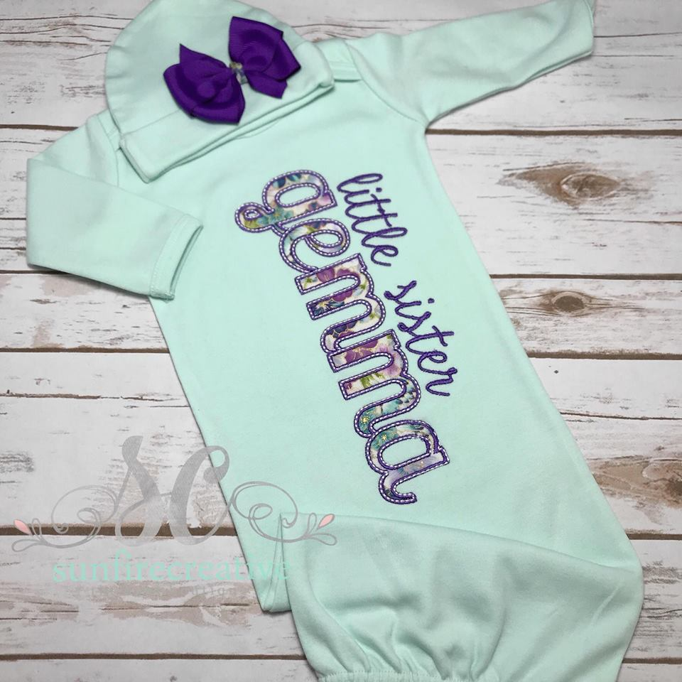 3c9879355d03 Little Sister Baby Gown - Girls Coming Home Outfit - Sunfire Creative Baby  Boutique
