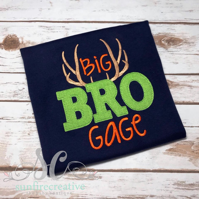 Navy Big Bro Shirt with Antlers - Sibling Outfit - Sunfire Creative Baby Boutique