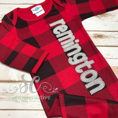 Buffalo Plaid Baby Gown - Name Gown