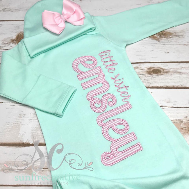 Little Sister Gown - Baby Girl Coming Home Outfit - Sunfire Creative Baby Boutique