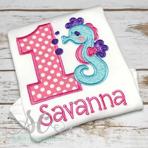 Girl's Birthday Shirt - Sea Horse Birthday Shirt