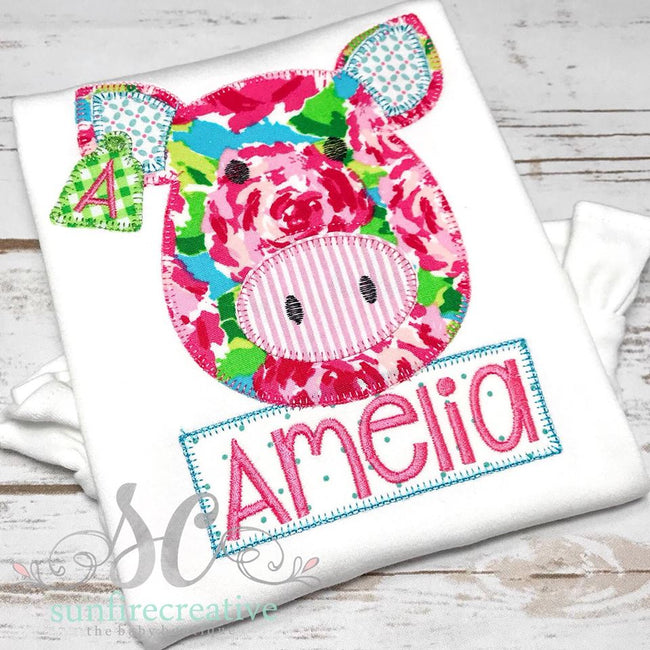 Floral Pig Shirt - Sunfire Creative Baby Boutique