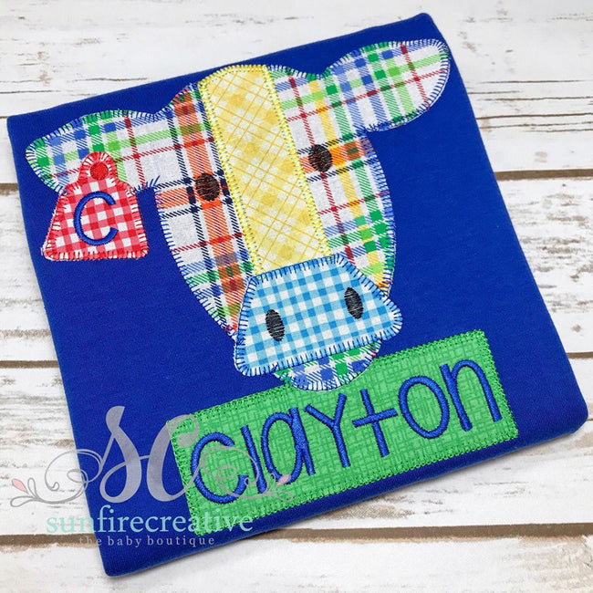 Royal Blue with Bright Plaid Cow Shirt - Sunfire Creative Baby Boutique