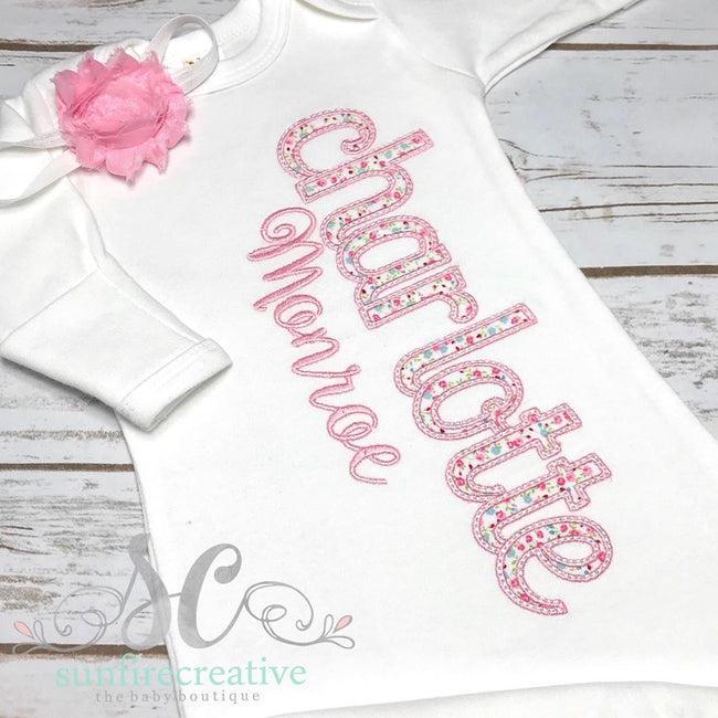 Pink and White Baby Girl Outfit - Pink Floral Coming Home Gown - Sunfire Creative Baby Boutique