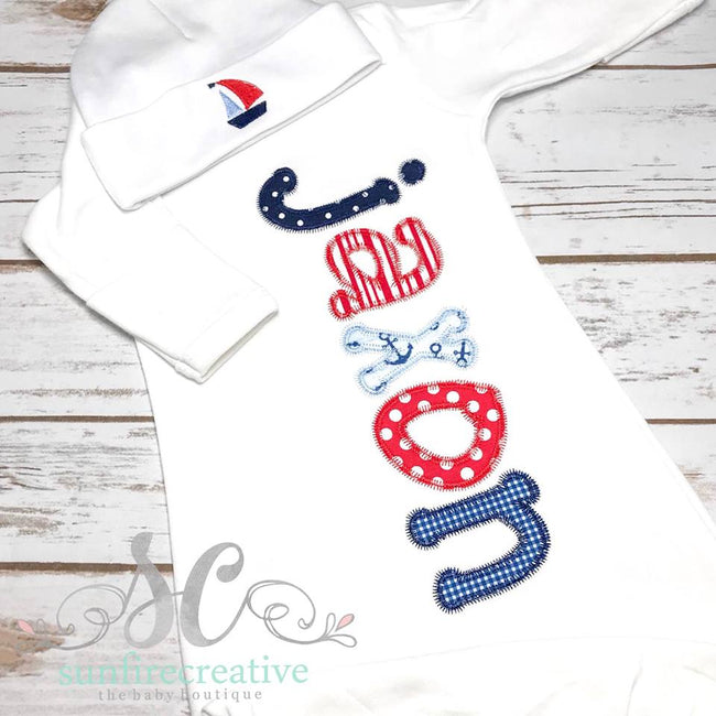 Sailboat Baby Coming Home Outfit - Nautical Baby Gown - Sunfire Creative Baby Boutique